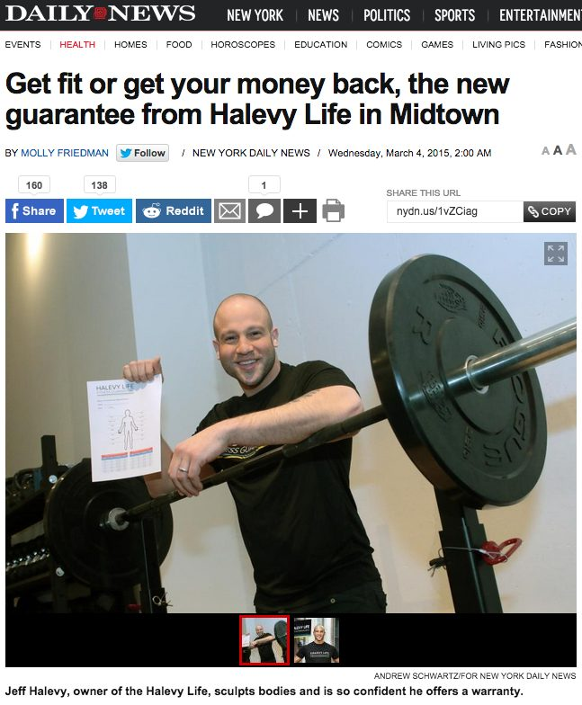 Get fit or get your money back, the new guarantee from Halevy Life in Midtown