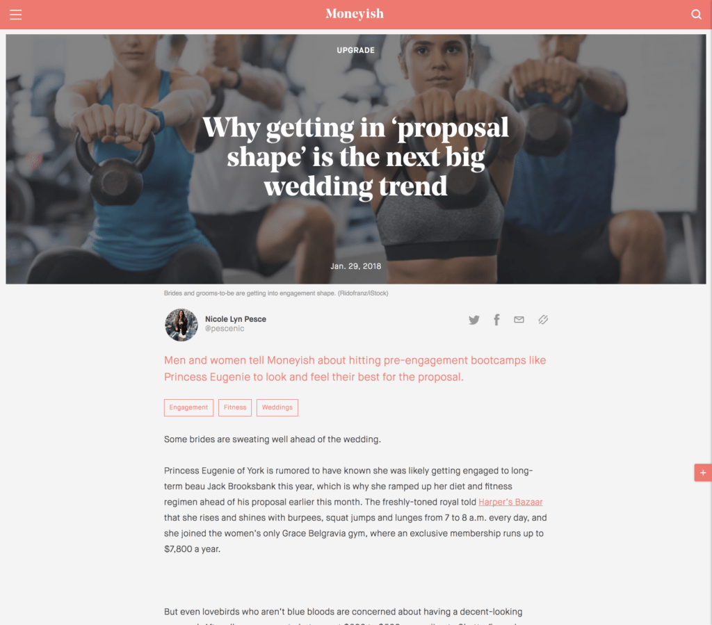 Why getting in 'proposal shape' is the next big wedding trend